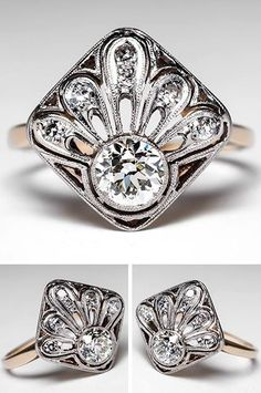 Vintage Art Deco Diamond Ring. I can't tell if I love it or hate it...