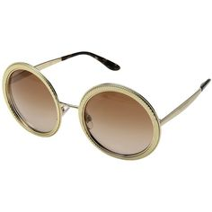 Dolce & Gabbana DG2179 (Gold/Brown Gradient) Fashion Sunglasses ($370) ❤ liked on Polyvore featuring accessories, eyewear, sunglasses, metal frame sunglasses, metal frame heart sunglasses, uv protection sunglasses, clear glasses and oval sunglasses