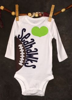c105cf11139 Seattle Seahawks Personalized Star, Heart OR Bow Tie Team Football Bodysuit