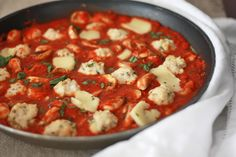 Basil Chicken Meatballs with Roasted Tomato Sauce