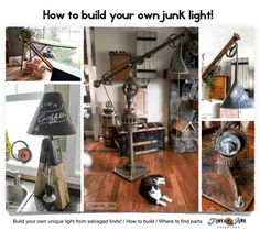 How to build your own upcycled junk light ~~ from scratch! Inspiration for creating a light that's right for you, and a guide on where to purchase supplies. #ebay