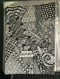 Class Original Zentangle Ink Drawing Hand by TheChaoticPawPrints