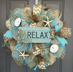 Relax Beach Burlap Deco Mesh Wreath with Seashells, Seashell Wreath, Sea Shell Wreath, Beach Wreath, Starfish Wreath Starfish Wreath, Coastal Wreath, Nautical Wreath, Coastal Decor, Seashell Crafts, Beach Crafts, My Pool, Deco Mesh Wreaths, Rag Wreaths
