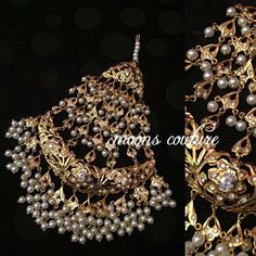 Stunning Jhoomar/ passa handcrafted Aari work with pearls & stones.. Colour…