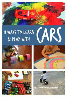 : 11 Ways to Learn and Play with Toy Cars (Cars were my FAVORITE TOY till I was And did I have a brother. Made my little sis play cars too! We build cities just for our HOT WHEELS collection! Transportation Activities, Kids Learning Activities, Fun Learning, Preschool Activities, Family Activities, Toddler Play, Toddler Preschool, Learning Through Play, Play To Learn