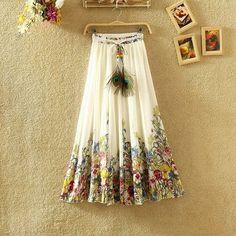 Femme Floral Beach Maxi Skirt