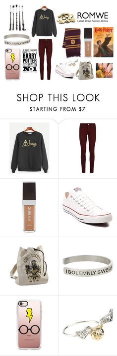 """""""Harry Potter Romwe Sweatshirt Contest"""" by short-infinities ❤ liked on Polyvore featuring Paige Denim, Claudio Riaz, Converse, Warner Bros. and Casetify"""