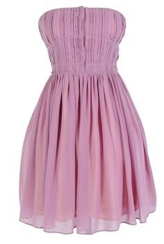 Pleated Strapless Hook and Eye Designer Dress by Minuet in Mauve    www.lilyboutique.com