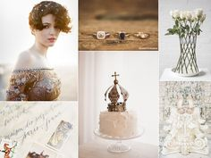 Sparkling brown and white wedding inspiration board
