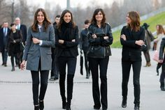 Second from the right at PFW for the FW 2012 shows with some of her coworkers. In a leather jacket I havent seen before: Oversized, gold hardware, epaulettes.  #voguettes #fashion #streetstyle