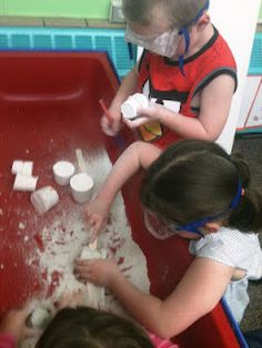 """Paleontologists at work! hide plastic dinosaurs in a combination of plaster of paris, sand and water... kids have to use tools to """"unearth"""" the dinosaur. fun"""
