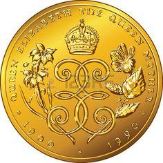 Moneda de oro Vector Dinero D lar de Bermudas dedicada a la Reina Madre Elizabeth con la imagen de u Foto de archivo