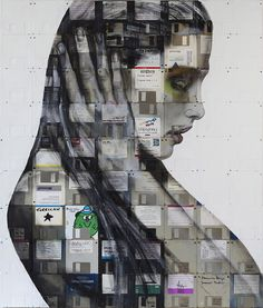 2011 / Mixed paint and used computer disks on wood / 85cm x 72cm / Signed 1 off original / Miami Art Basel, SCOPE booth A39 (Robert Fontaine Gallery)