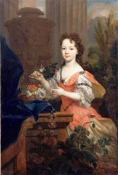 c.1700 Marie-Louise-Élisabeth d'Orléans, Mademoiselle d'Orléans possibly by Pierre Gobert.  Daughter of Philippe II, Duke of Orléans, Regent of France, and of his wife Françoise-Marie de Bourbon, a legitimised daughter of Louis XIV of France. She was over indulged from childhood probably due to her two near fatal illnesses at a young age. When she was 10 she caught smallpox but miraculously survived.