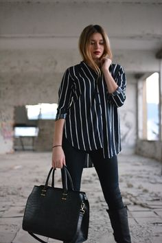 The Striped Shirt Greek Fashion, Style Fashion, Fashion Beauty, Beauty Style, Coat, Jeans, Shirt Style, Leather, Jackets