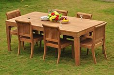 TeakStation 6 Seater 7 Pc Grade-A Teak Wood Dining Set: Large Caranasas Dining Rectangle Table Table, 2 Arm and 4 Giva Armless Chairs Outdoor Dining Set, Outdoor Tables, Outdoor Decor, Patio Chairs, Table And Chairs, Dining Table, Garden Furniture Sets, Outdoor Furniture Sets, Rectangle Table