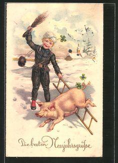 Alte Ansichtskarte: AK Die besten Neujahrsgrüße, Schornsteinfeger mit Glücksschwein
