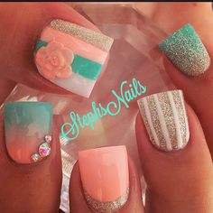 #coral#darkmint#moreliketeal#white#silver#silverglitter#stripes#glitterombre#bestforlast#myfavoftheday#sheletmechoose#acrylicstripecutouts#flower#coraltealombre#coral#silver#crystalscute#love#love#love#teamsteph#stephsnails