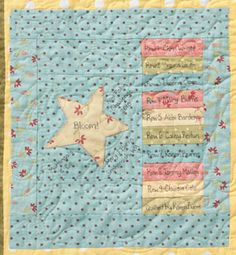 Bloom quilt label detail Great idea for a round robin or tinners quilt
