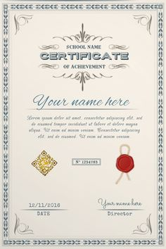 Copy of School diploma template - PosterMyWall Certificate Of Participation Template, Graduation Certificate Template, Certificate Format, Training Certificate, Certificate Design Template, Id Card Template, Certificates Online, Certificate Of Achievement, Award Certificates