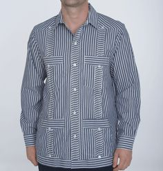 Shop for summer wedding shirts and attire at www.debratorres.com.   Navy and white striped summer guayabera shirt.