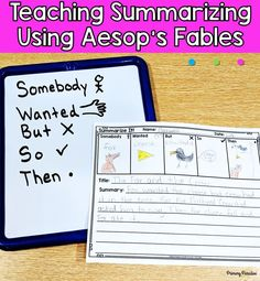 Summarizing is such an important reading skill that is often tricky for students. Make it easier by using Aesop's Fables to teach this concept. Guided Reading Organization, Guided Reading Activities, Teaching Activities, Kindergarten Reading, Reading Strategies, Reading Skills, Teaching Reading, Reading Comprehension, Teaching Ideas