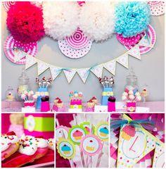 Un cumpleaños con temática de Cupcakes   Ideas para Decoracion