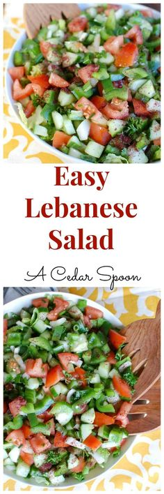 Easy Lebanese Salad, also known as Lebanese Salata, is a salad mixing chopped to. Clean Eating Vegetarian, Healthy Eating, Healthy Food, Healthy Salad Recipes, Lunch Recipes, Raw Recipes, Skinny Recipes, Yummy Recipes, Lebanese Salad