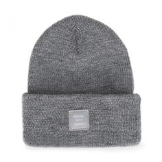 Grey Refelective Speckle Abbott Beanie ($31) ❤ liked on Polyvore featuring accessories, hats, beanie cap hat, tall hat, grey hat, grey beanie and gray beanie