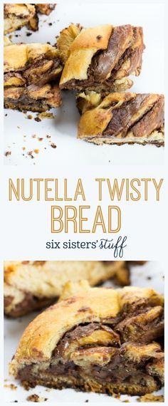 Nutella Twisty Bread from SixSistersStuff.com | Dessert Recipes | Breakfast Breads | Kid Approved Snacks