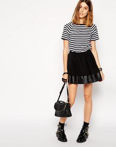 ASOS Skater Skirt with Leather Look Hem