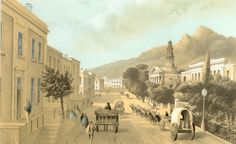 Thomas Bowler painting, looking down Wale Street. Cape Town, 1800s.