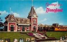 b55b1e9ccf1 Disneyland California Postcard Railroad Depot Mickey Mouse Floral Design A  2