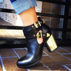 Black and Gold Buckle Booties