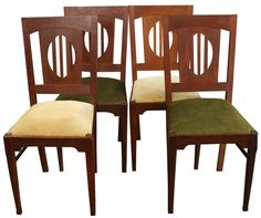 Art Deco Dining Chairs 1930 France - Set of 4 on Chairish.com