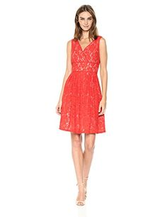 Adrianna Papell Womens VNeck Fit and Flare Lace Fire OrangeBisque 14 * Find out more about the great product at the image link. (This is an affiliate link) #Lacedresses