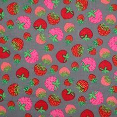 Kinderstoffe Baumwoll - Erdbeer Grau