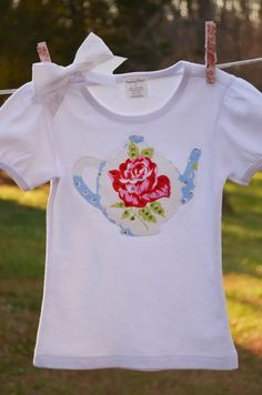 Tea Time Shabby Rose Tee & Matching Bow by PiggyHadTea on Etsy, $26.00