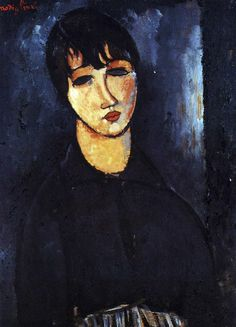 Painting by Amedeo Modigliani called The Maid. Italian Painters, Italian Artist, Amédéo Modigliani, Great Works Of Art, Spanish Art, Portraits, Portrait Paintings, Z Arts, Famous Art