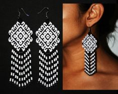 Native American Beaded Earrings Native by BiuluArtisanBoutique