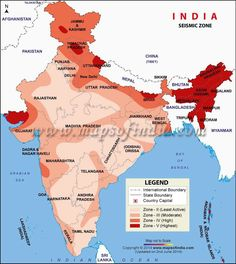 Map of India showing all five seismic zones of India. There are five seismic zones in India, zone 1 being the secure place and zone 5 being the earth quake prone area. History Memes, History Facts, Earthquake In India, Earthquake Zones, Geography Map, India Facts, India Map, History Of India, Knowledge Quotes