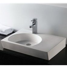 Bath, master, Whitehaus WHKN1127 Isabella 26-Inch Rectangular Vessel Bathroom Sink with Faucet Hole at FaucetDirect.com.