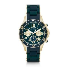 Rock Matte Teal Chronograph Watch Perfectly blending sporty and stylish details, this chronograph watch features casual silicone and classic gold-tone stainless steel.