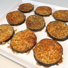 4 Peroner | Nemme ostegratinerede aubergine-røsti med olivenolie, parmesanost, havsalt og basilikum - MUMS » Low-Carb / LCHF / Paleo / KETO