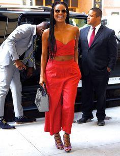 On Gabrielle Union:Paula CademartoriCrazy Stripes Sandals( $857 )($429). Shop similar:Self-PortraitCutout Jumpsuit($435).
