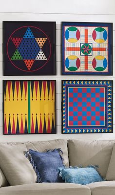 Hang them as graphic art on the wall. Or actually play the iconic board games. Our multi-use Game Board Trays come in graphic colors and are made from sturdy wood with carrying handles. Each game board is sold separately and comes with its corresponding game pieces packed in a velvet bag. Select Chess/Checkers, Backgammon, Parcheesi, or Chinese Checkers.