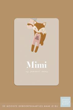 Een uniek geboortekaartje voor een meisje met een vosje en een handje. Mooie achtergrondkleur in een neutrale tint en het geboortekaartje heeft ronde hoeken. geboortekaartje   meisje   studio hemelsblauw   vosje   knuffel   Mimi