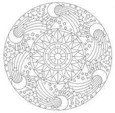 Mandala 644, Creative Haven Groovy Mandalas Coloring Book, Dover Publications