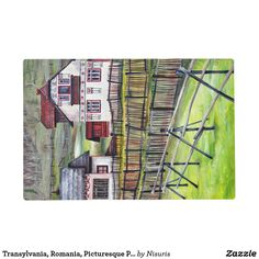 Transylvania, Romania, Picturesque Painted Scenery Placemat - Transylvania, Romania, Picturesque Painted Scenery - Transylvanian landscape painting: acrylic on canvas. The artwork is an original picturesque scenery from Romania in the city of Transylvania. You are welcome to contact if in need to apply the design for a product which is in Zazzle store, but not in my products list. Thank you for viewing my realm of Nisuris Art.