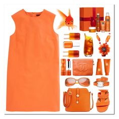 """""""goldfish"""" by countrycousin ❤ liked on Polyvore featuring Christopher Kane, Ganni, Neiman Marcus, SW Global, Hermès, Sephora Collection, Chanel, Rituals, Borghese and Essie"""